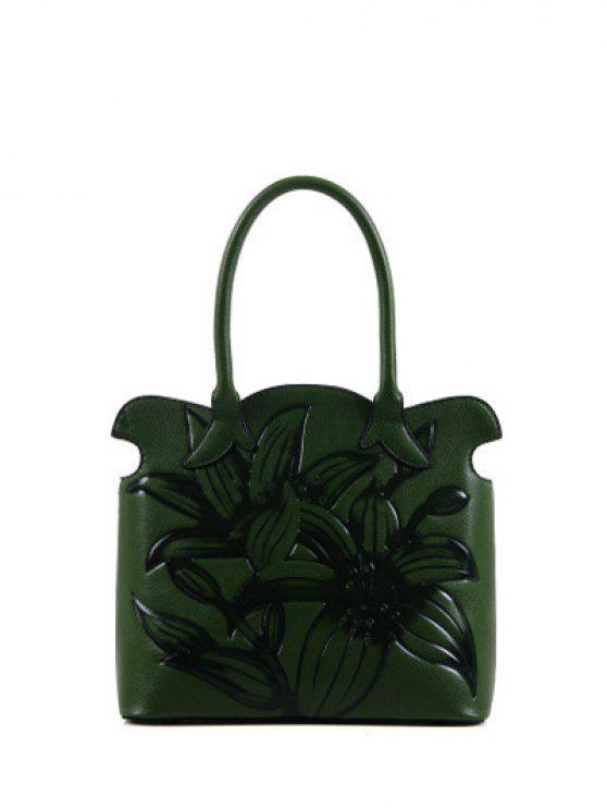 Impresso del fiore smerlato borsa - Verde