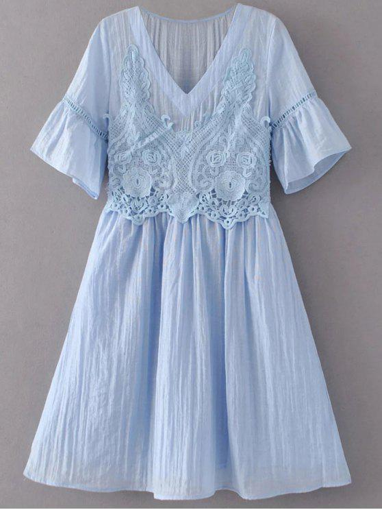 online Flare Sleeve Lace Panel A-Line Dress - LIGHT BLUE M