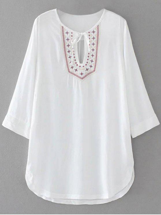 Robe tunique à bavette  brodée manches trois quart - Blanc M
