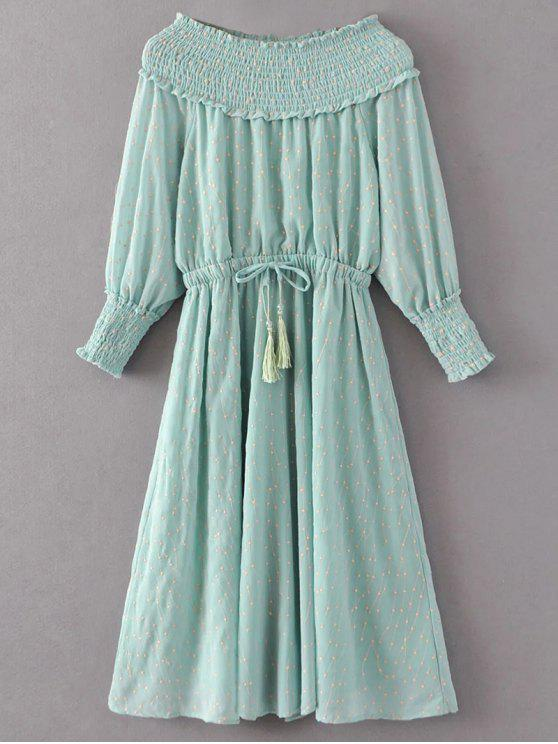 new Off Shoulder Smocked Drawstring Embroidered Dress - LIGHT GREEN M