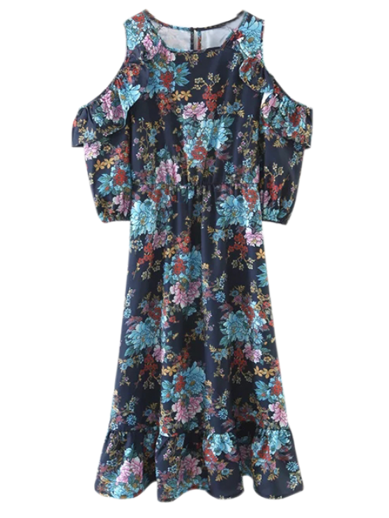 ladies Floral Cold Shoulder Midi Dress - FLORAL M