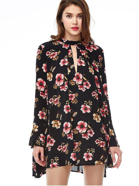 trendy Keyhole Cutout Floral Print Swing Dress - BLACK S