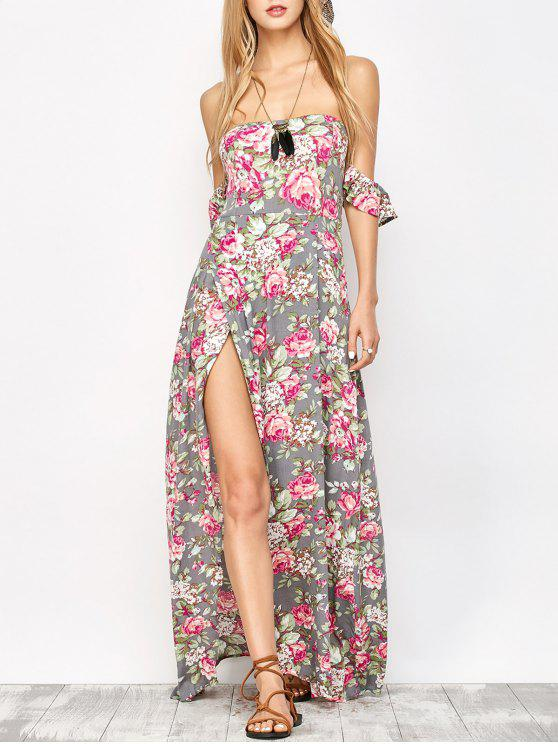 womens Maxi Off The Shoulder Floral Dress - FLORAL L