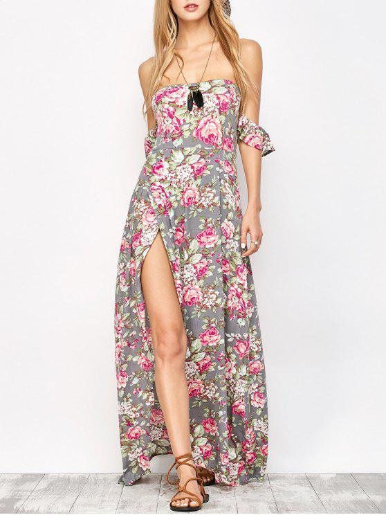 Maxi Vestido Floral al Hombro con Corte - Floral S
