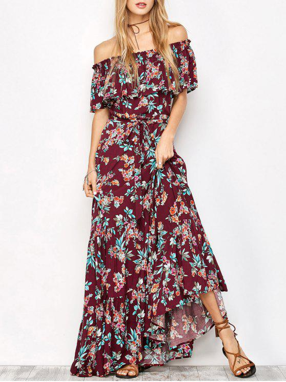 ladies Ruffles Maxi Off The Shoulder Dress - FLORAL L