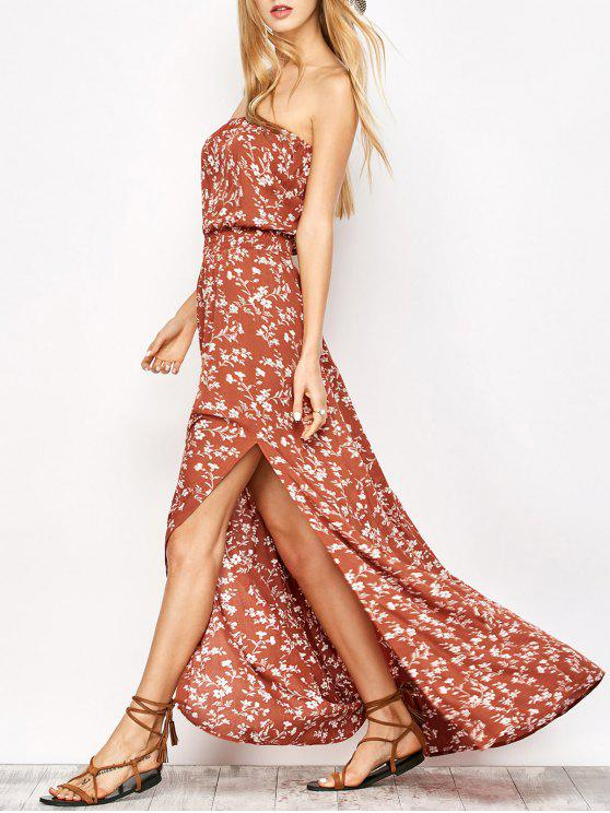 hot Tiny Floral Maxi Bandeau Dress - ORANGE RED S