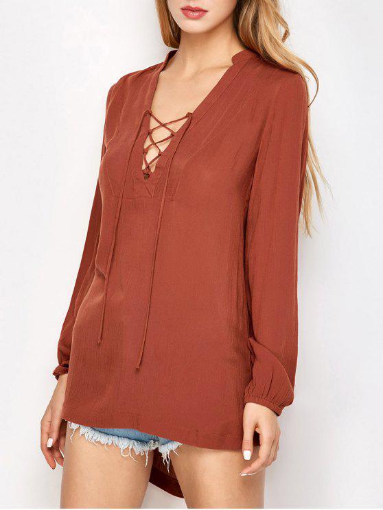 fashion Long Sleeved Lace Up Top - DARK AUBURN S