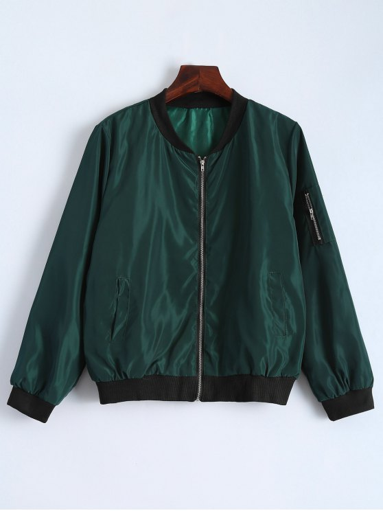 fancy Zip Detail Bomber Jacket - GREEN M