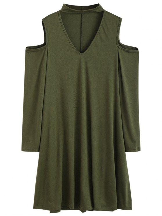 outfit Cutout Shoulder Choker Neck Swing Dress - ARMY GREEN M