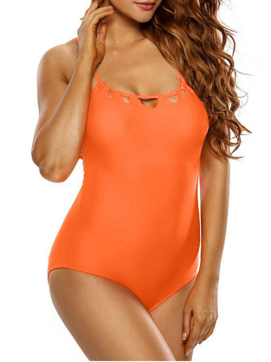 latest Strappy Scoop Swimsuit - ORANGE M