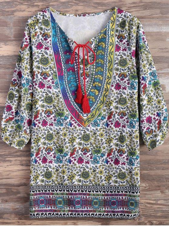 outfits Ethnic Tassel Floral Print Mini Dress - COLORMIX S