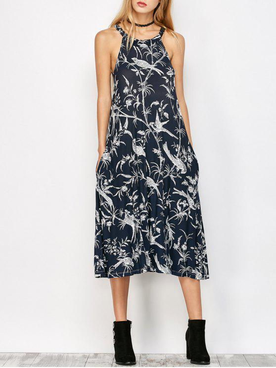 buy Bohemian Printed Dress with Pockets - CADETBLUE S