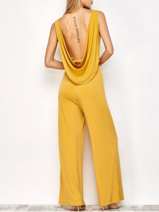 outfit Belted Backless Jumpsuit - YELLOW L