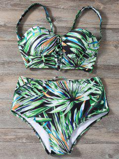 Lace Up Printed High Waist Bikini Set - Green L