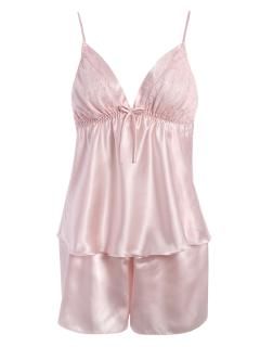Bowknot Lace Panel Tank Top And Flounced Shorts Pajamas - Pink