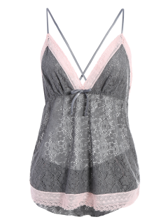 Bowknot Spaghetti Strap Lace Sleepwear Suit - Gray M