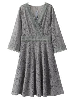 Fringed Wrap Lace Swing Dress - Gray M