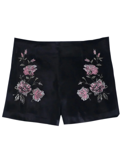 Floral Embroidered Velvet Shorts - Black S