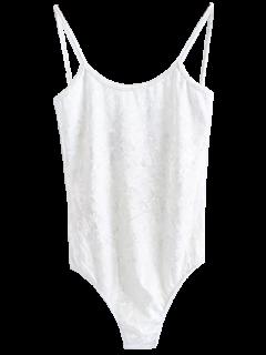 Skinny Velvet Bodysuit - White S