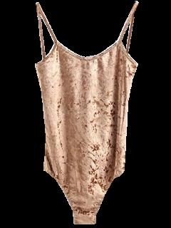 Skinny Velvet Bodysuit - Khaki S