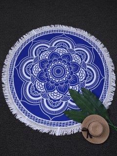 Tapisserie De Plage Round à Motif En Mandala - Bleu Et Blanc