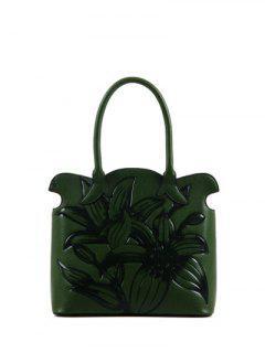 Flower Embossed Scalloped Handbag - Green
