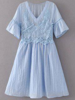 Flare Sleeve Lace Panel A-Line Dress - Light Blue L