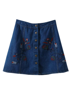 Jupe A-ligne En Denim à Broderie Floral - Bleu L