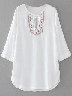 Rounded Hem Embroidered Bib Tunic Dress - White M