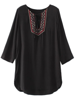 Rounded Hem Embroidered Bib Tunic Dress - Black S