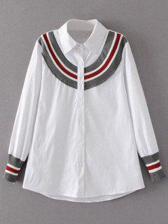 Chemise Droite Rayée Avec Tricot  - Blanc S
