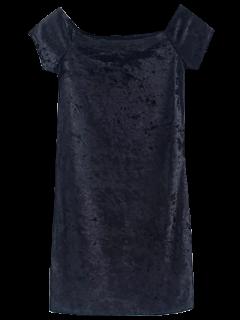 Casual Off The Shoulder Velvet Mini Dress - Black S