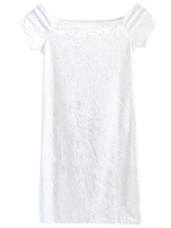 Casual Off The Velvet Mini Vestido Del Hombro - Blanco M