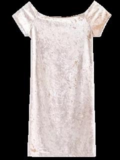 Mini Robe En Velours Sans épaule - Champagne M