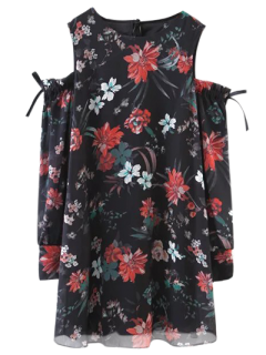 Long Sleeve Cold Shoulder Floral Dress - Black M