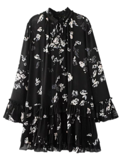 Floral Pleated Tunic Dress - Black S