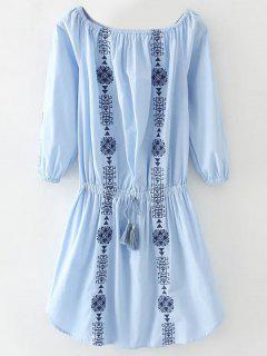 Off The Shoulder Drawstring Embroidered Dress - Light Blue S