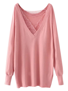 Eyelash Lace Long Pullover Sweatshirt - Pink S