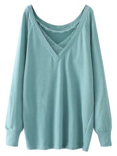 Eyelash Lace Long Pullover Sweatshirt - Light Green M