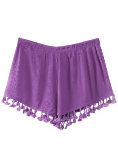 Crinkly Tasselled Shorts - Purple M