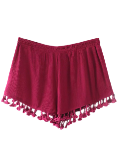 Crinkly Tasselled Shorts - Red L