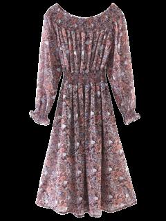 Robe Motif Cachemire Froncé Sans épaule - S