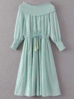Off Shoulder Smocked Drawstring Embroidered Dress - Light Green M