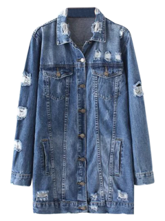 Bleach Wash Distressed Denim Coat - Denim Blue S