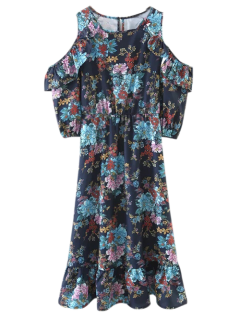 Floral Cold Shoulder Vestido A Media Pierna - Floral M