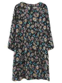 Robe Tunique à Plume De Paon - Noir M