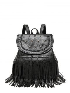 Tressé Rivet Fringe Backpack - Noir
