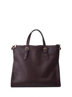 Buckle Straps Faux Leather Tote Bag - Deep Brown