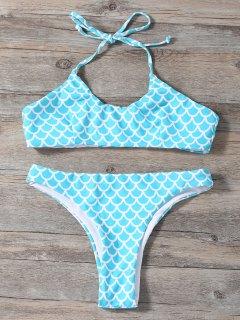 Fish Scale Print Mermaid Bikini - Turquoise L