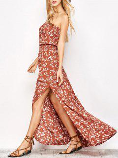 Pequeño Vestido Floral Con Estampado De Flores - Rojo Anaranjado S